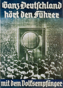 """Example of German Poster gearing up for WWII, """"All of Germany Listens to the Führer with the Peoples Receiver,"""" Lithograph 1936"""