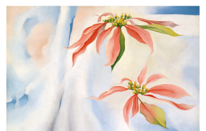 "detail, Georgia O'Keeffe, ""Mule's Skull with Pink Poinsettia,"" 1936."